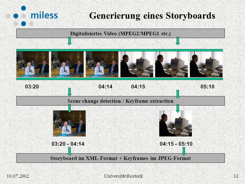 Generierung eines Storyboards