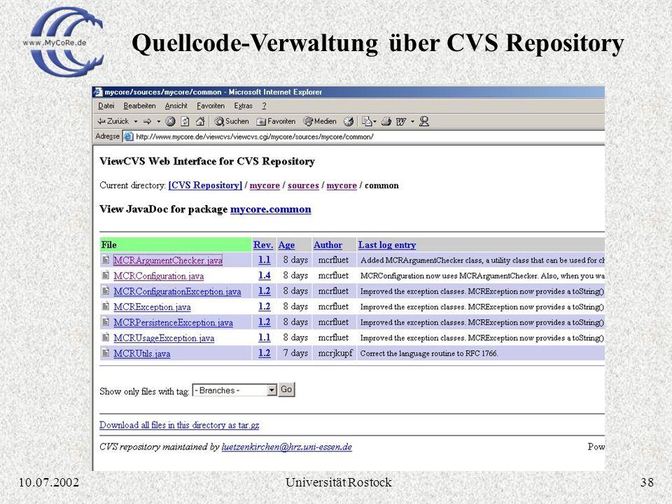 Quellcode-Verwaltung über CVS Repository