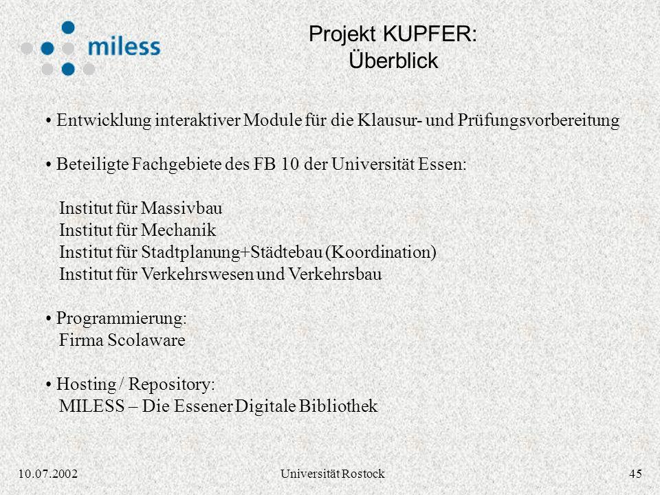 Projekt KUPFER: Überblick