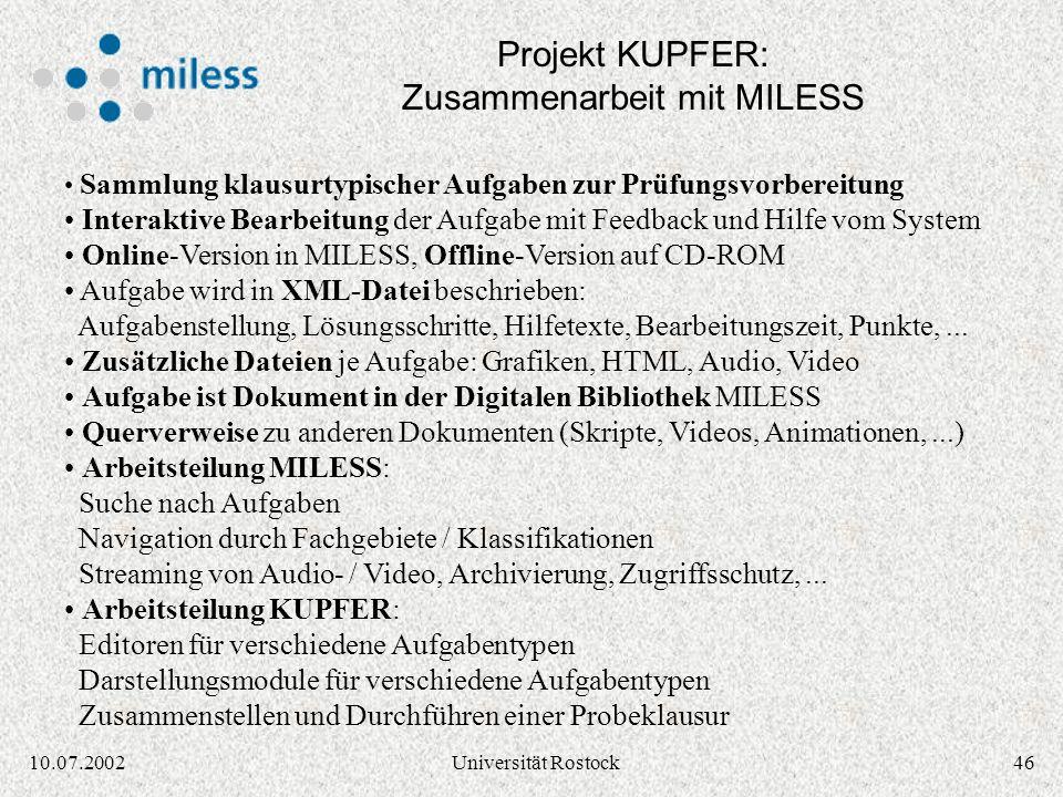 Projekt KUPFER: Zusammenarbeit mit MILESS