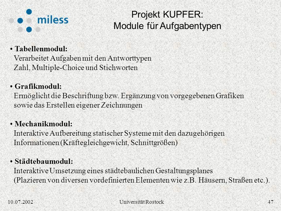Projekt KUPFER: Module für Aufgabentypen