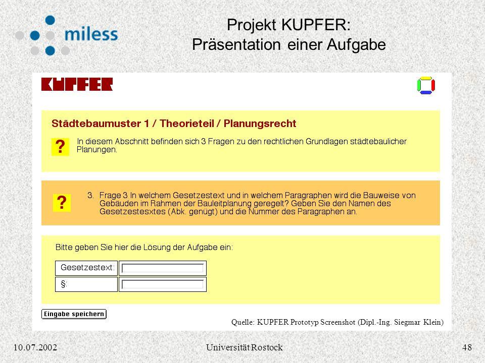 Projekt KUPFER: Präsentation einer Aufgabe