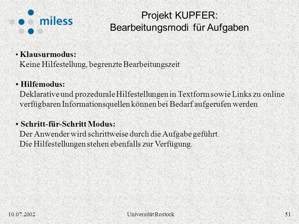 Projekt KUPFER: Bearbeitungsmodi für Aufgaben