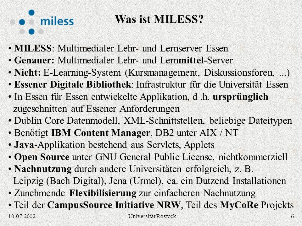 Was ist MILESS MILESS: Multimedialer Lehr- und Lernserver Essen