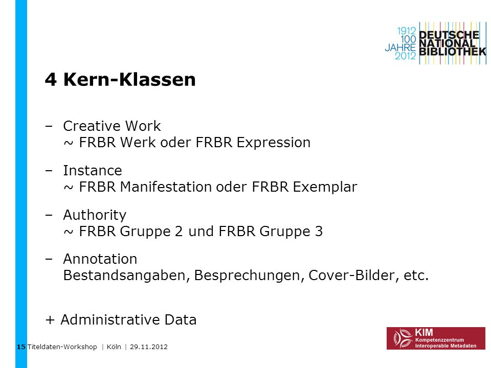 4 Kern-Klassen Creative Work ~ FRBR Werk oder FRBR Expression