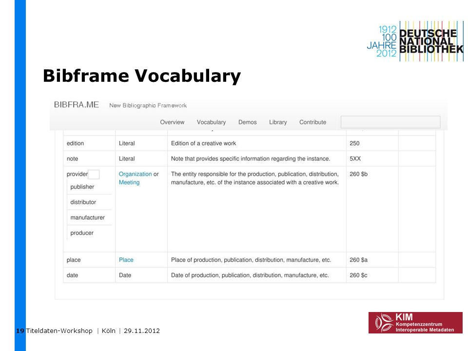 19 Bibframe Vocabulary Titeldaten-Workshop | Köln | 29.11.2012