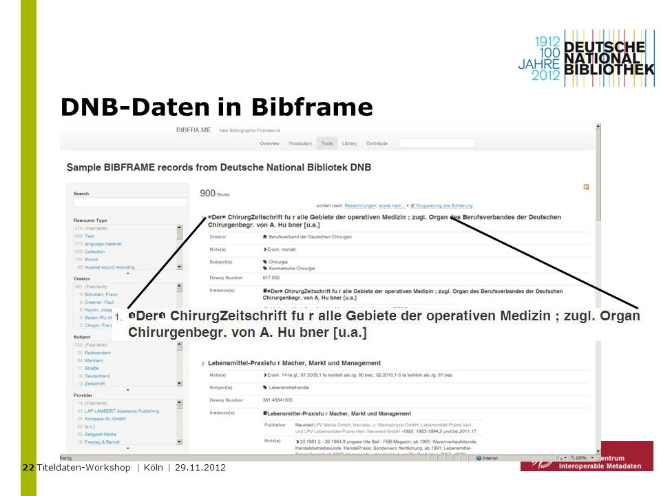 22 DNB-Daten in Bibframe Titeldaten-Workshop | Köln | 29.11.2012