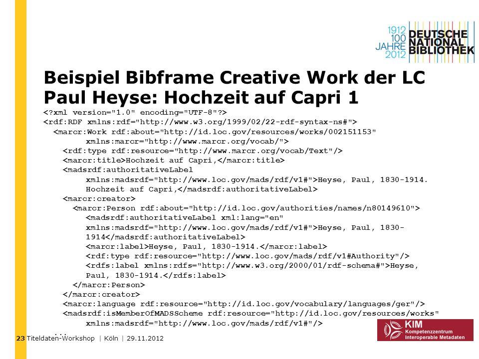 23 Beispiel Bibframe Creative Work der LC Paul Heyse: Hochzeit auf Capri 1.