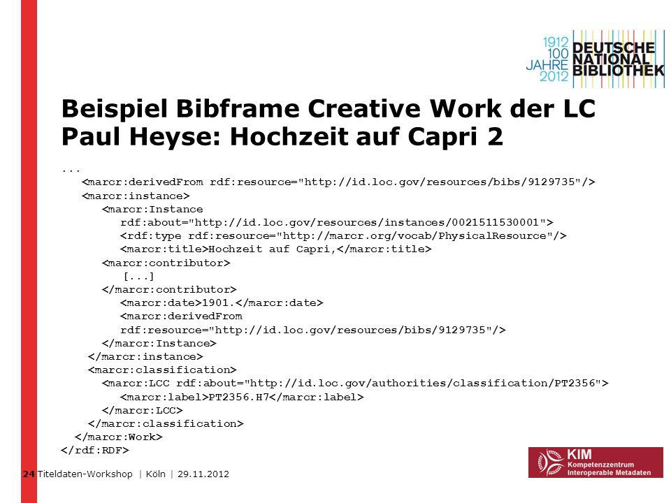 24 Beispiel Bibframe Creative Work der LC Paul Heyse: Hochzeit auf Capri 2.