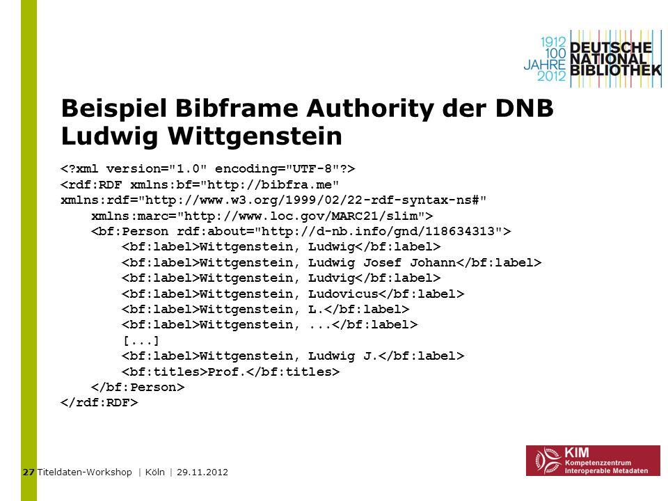 Beispiel Bibframe Authority der DNB Ludwig Wittgenstein