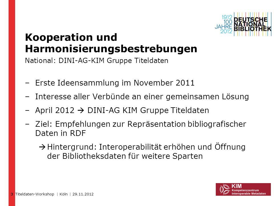 3Kooperation und Harmonisierungsbestrebungen National: DINI-AG-KIM Gruppe Titeldaten. Erste Ideensammlung im November 2011.