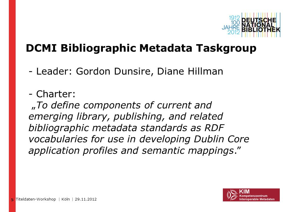 DCMI Bibliographic Metadata Taskgroup