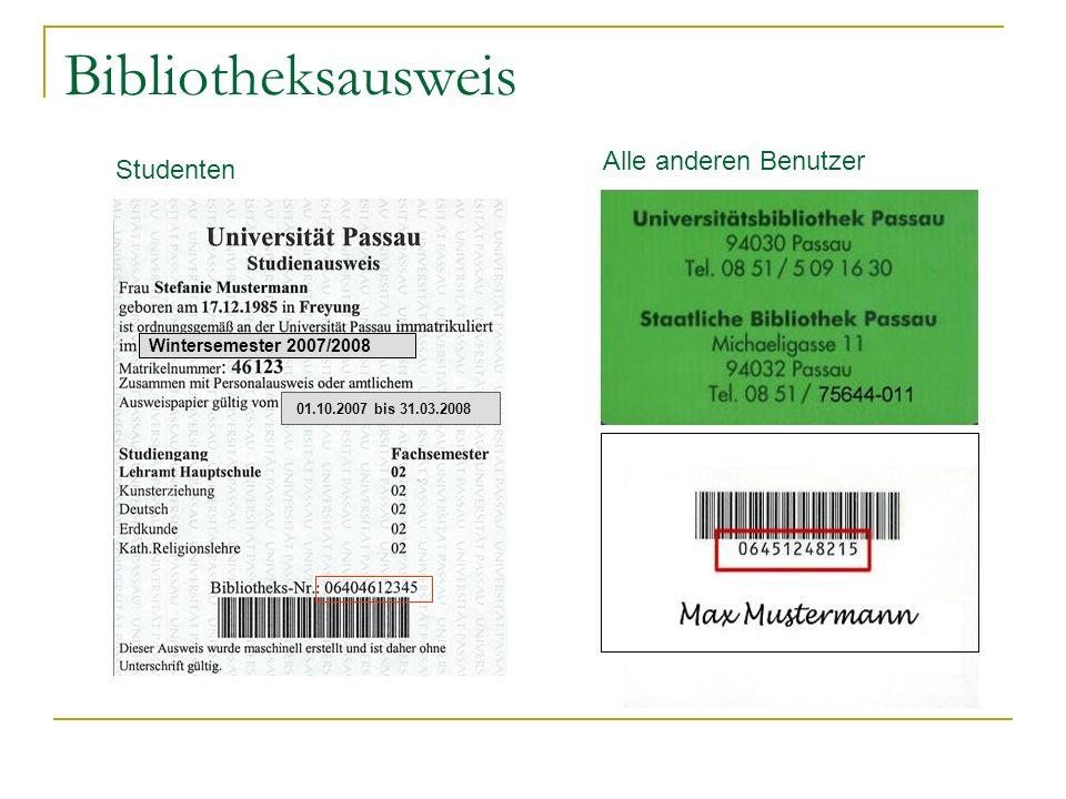 Bibliotheksausweis Alle anderen Benutzer Studenten