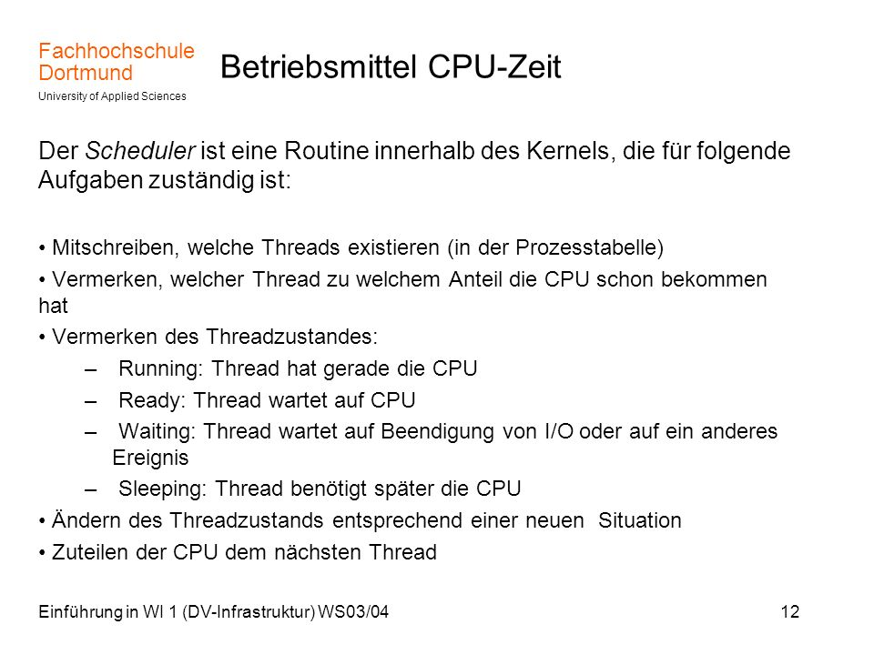 Betriebsmittel CPU-Zeit