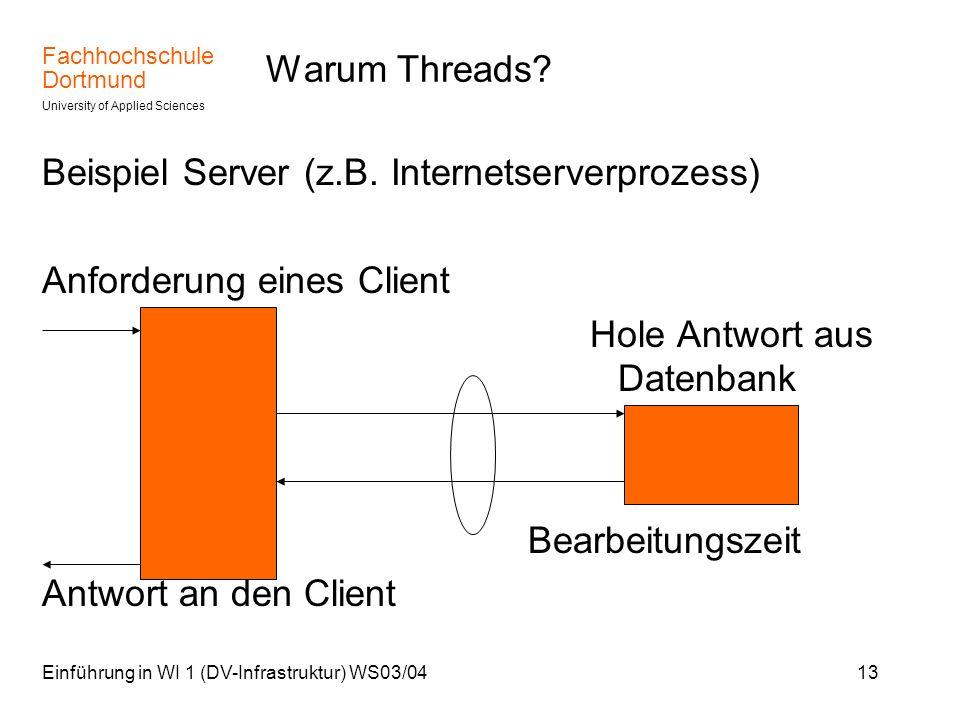 Beispiel Server (z.B. Internetserverprozess) Anforderung eines Client