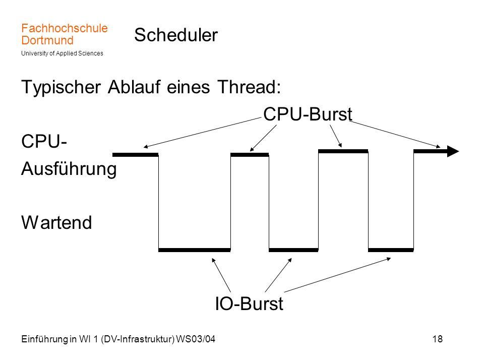 Typischer Ablauf eines Thread: CPU-Burst CPU- Ausführung Wartend