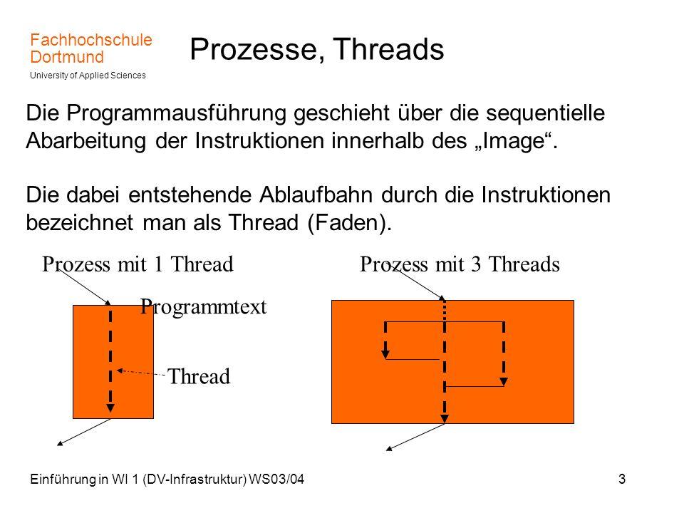 """Prozesse, ThreadsDie Programmausführung geschieht über die sequentielle Abarbeitung der Instruktionen innerhalb des """"Image ."""