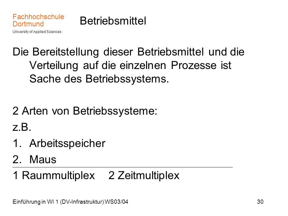 2 Arten von Betriebssysteme: z.B. Arbeitsspeicher Maus