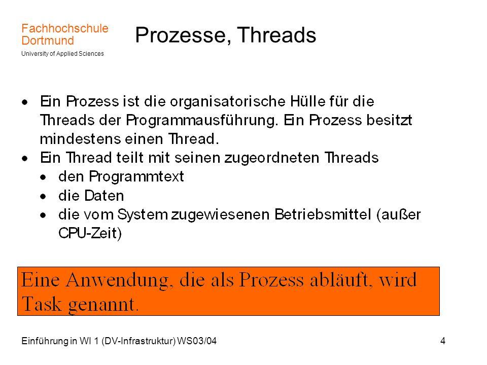 Prozesse, Threads Einführung in WI 1 (DV-Infrastruktur) WS03/04