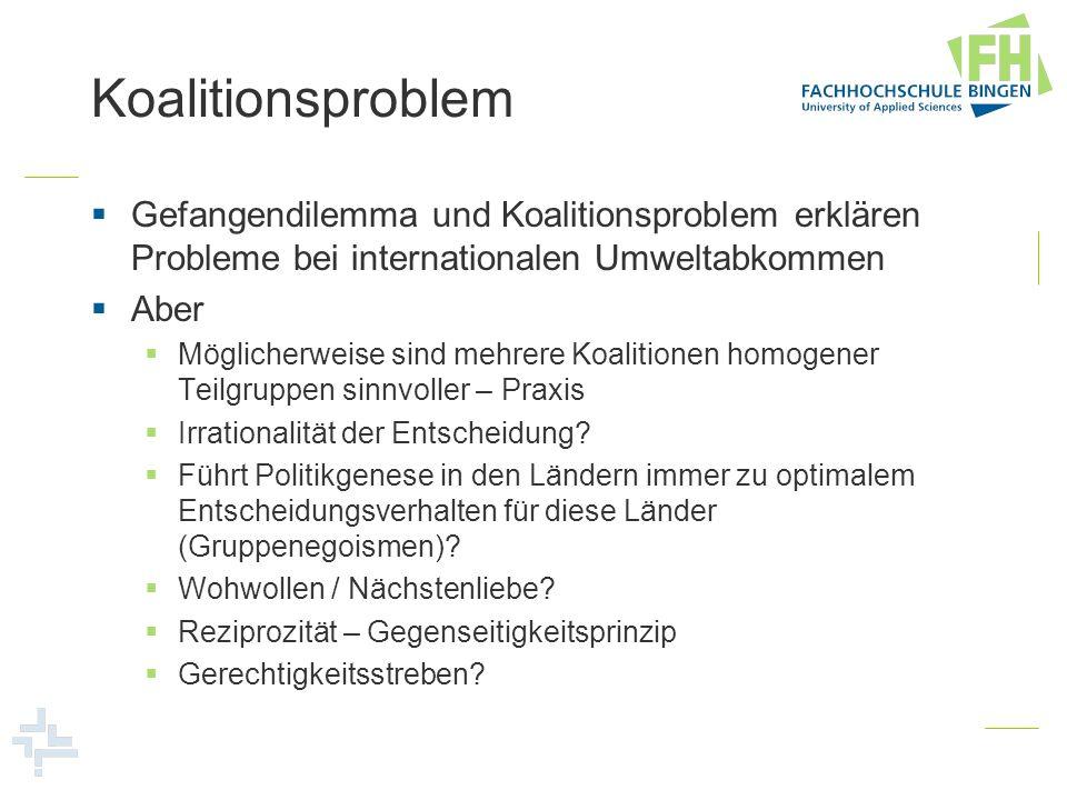Koalitionsproblem Gefangendilemma und Koalitionsproblem erklären Probleme bei internationalen Umweltabkommen.