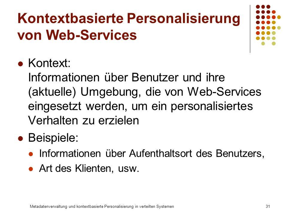 Kontextbasierte Personalisierung von Web-Services