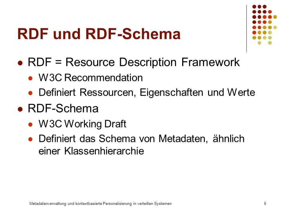 RDF und RDF-Schema RDF = Resource Description Framework RDF-Schema