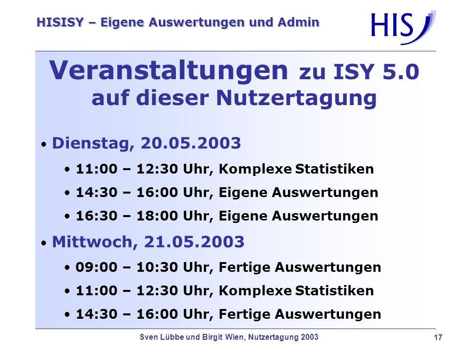 Veranstaltungen zu ISY 5.0 auf dieser Nutzertagung