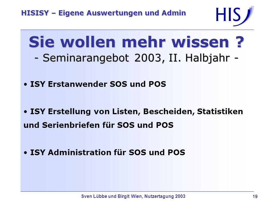 Sie wollen mehr wissen - Seminarangebot 2003, II. Halbjahr -