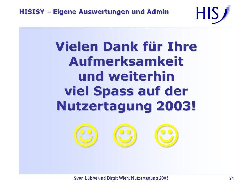 Vielen Dank für Ihre Aufmerksamkeit und weiterhin viel Spass auf der Nutzertagung 2003!