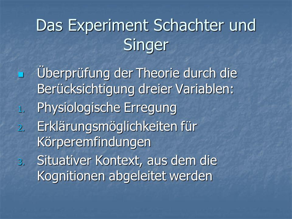 Das Experiment Schachter und Singer