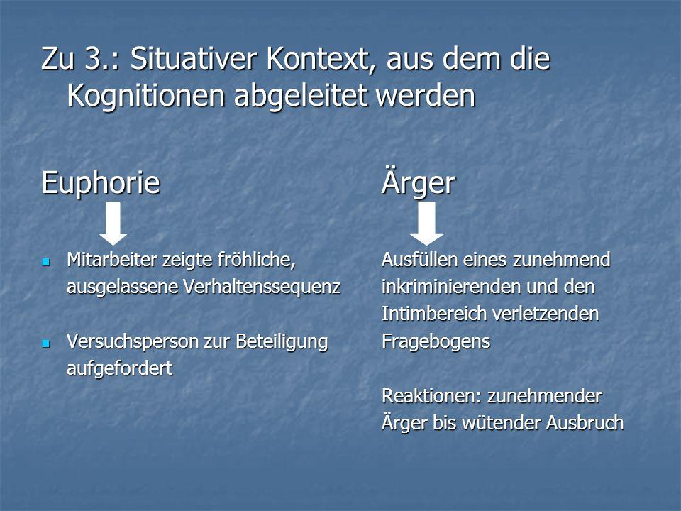 Zu 3.: Situativer Kontext, aus dem die Kognitionen abgeleitet werden