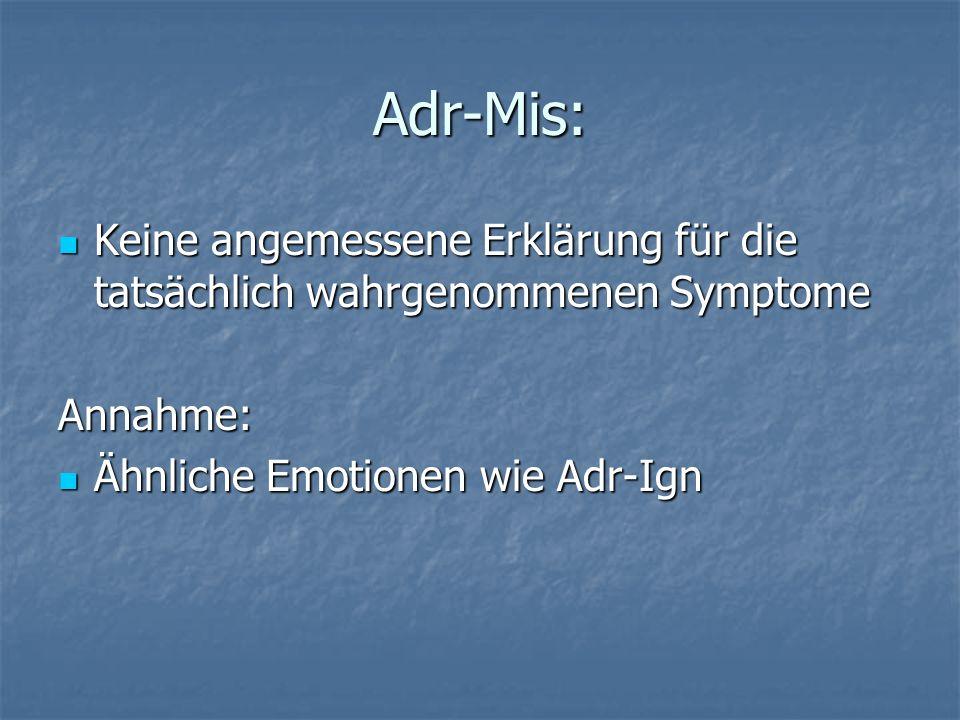 Adr-Mis: Keine angemessene Erklärung für die tatsächlich wahrgenommenen Symptome.