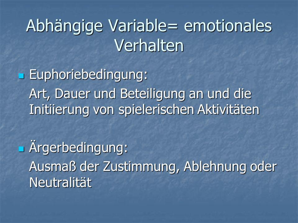 Abhängige Variable= emotionales Verhalten