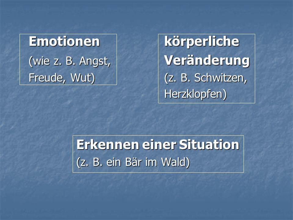 Emotionen körperliche (wie z. B. Angst, Veränderung Freude, Wut) (z. B