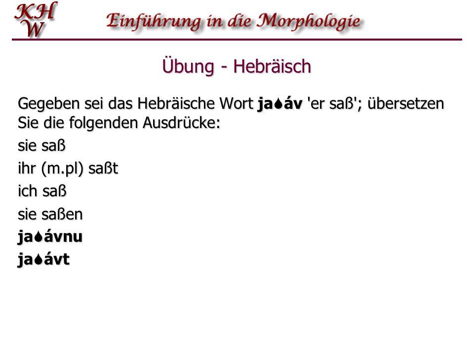 Übung - Hebräisch Gegeben sei das Hebräische Wort jaSáv er saß ; übersetzen Sie die folgenden Ausdrücke: