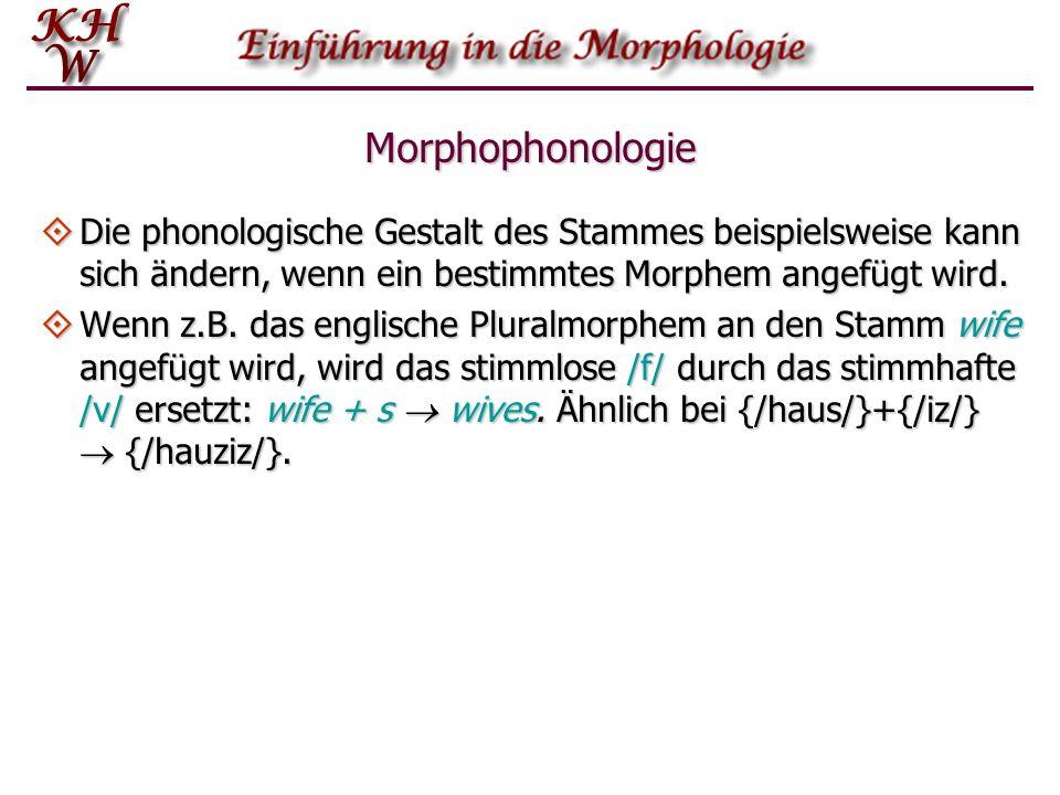 Morphophonologie Die phonologische Gestalt des Stammes beispielsweise kann sich ändern, wenn ein bestimmtes Morphem angefügt wird.