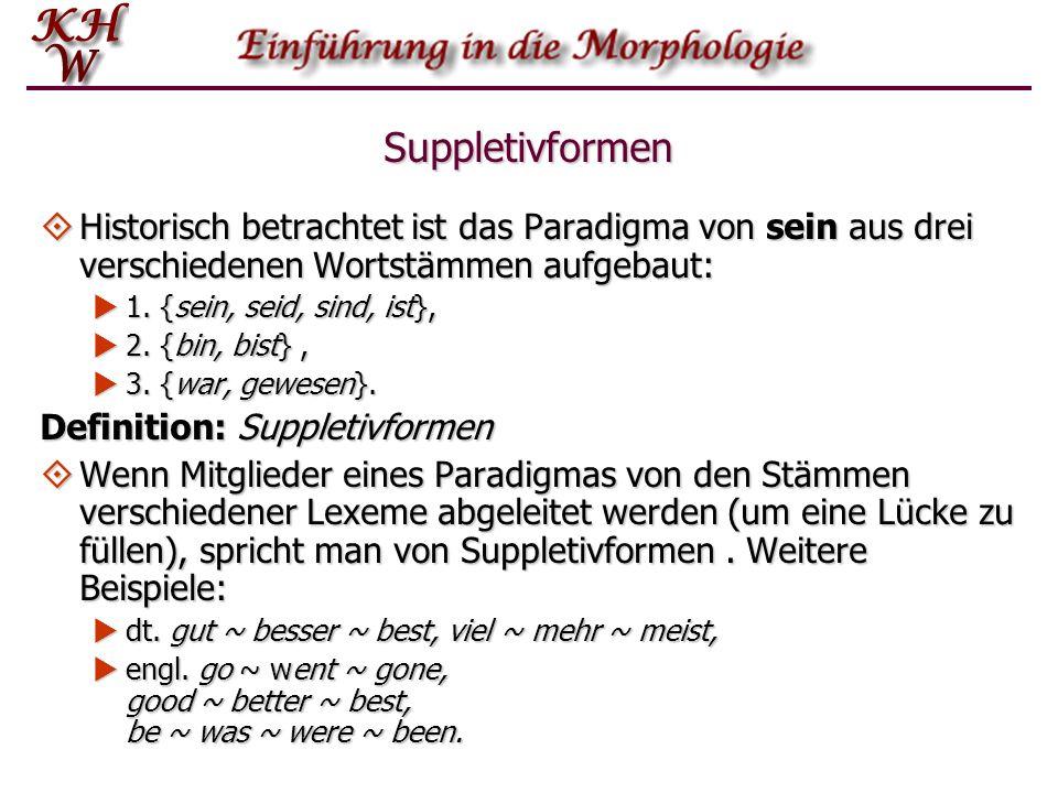 Suppletivformen Historisch betrachtet ist das Paradigma von sein aus drei verschiedenen Wortstämmen aufgebaut: