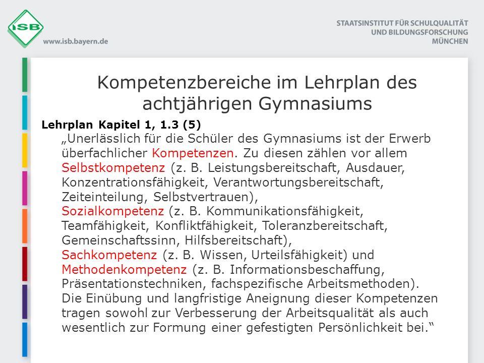 Kompetenzbereiche im Lehrplan des achtjährigen Gymnasiums
