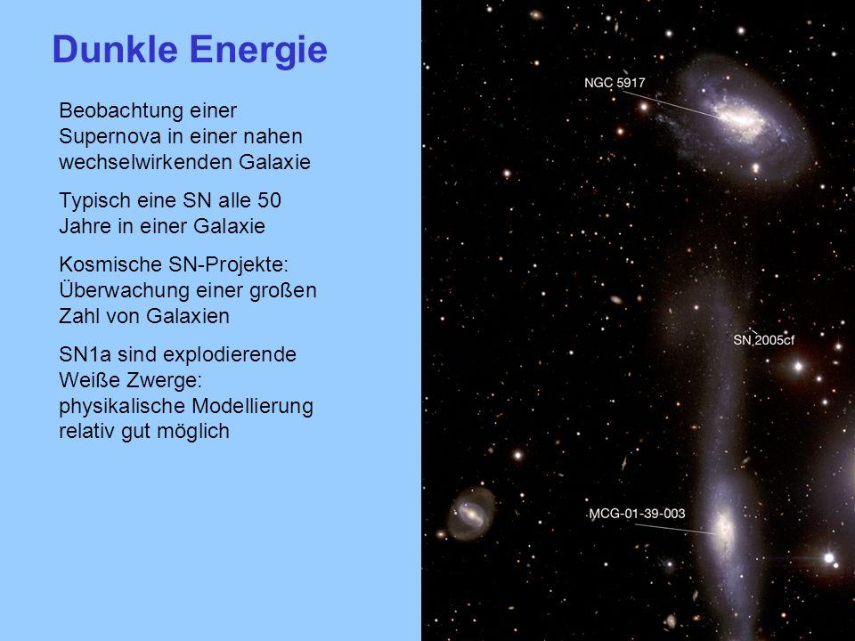 Dunkle EnergieBeobachtung einer Supernova in einer nahen wechselwirkenden Galaxie. Typisch eine SN alle 50 Jahre in einer Galaxie.