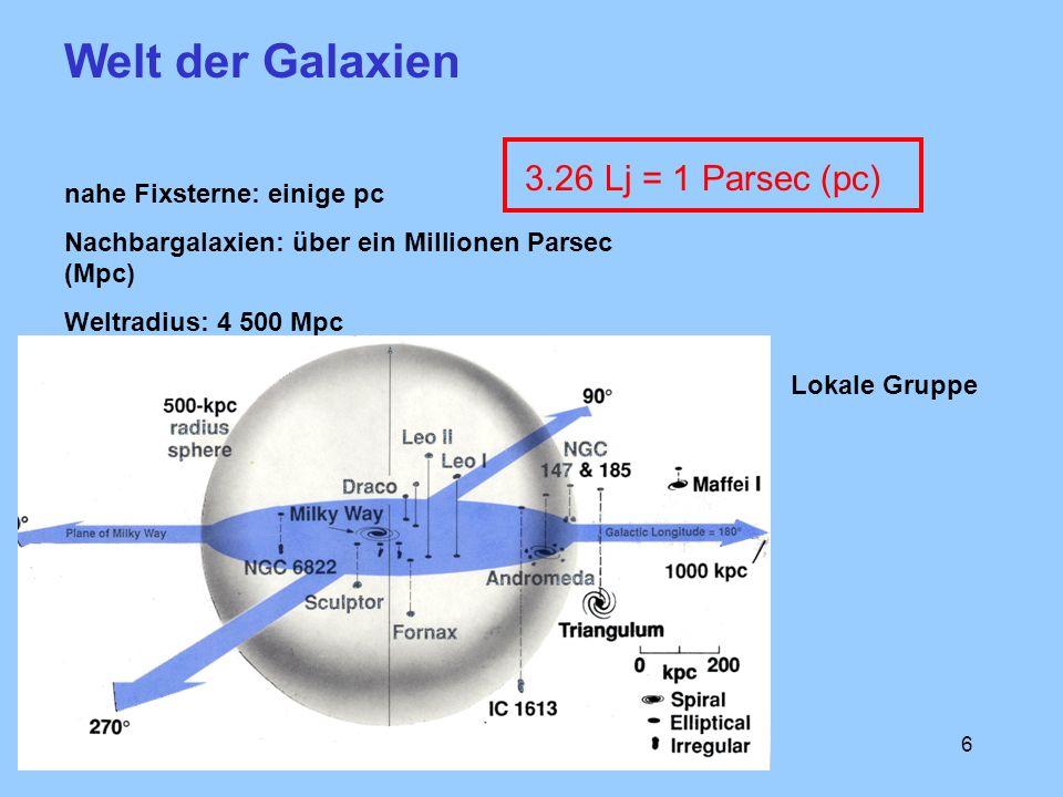 Welt der Galaxien 3.26 Lj = 1 Parsec (pc) nahe Fixsterne: einige pc