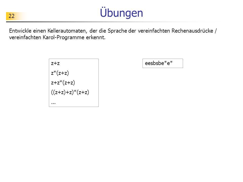 Übungen Entwickle einen Kellerautomaten, der die Sprache der vereinfachten Rechenausdrücke / vereinfachten Karol-Programme erkennt.