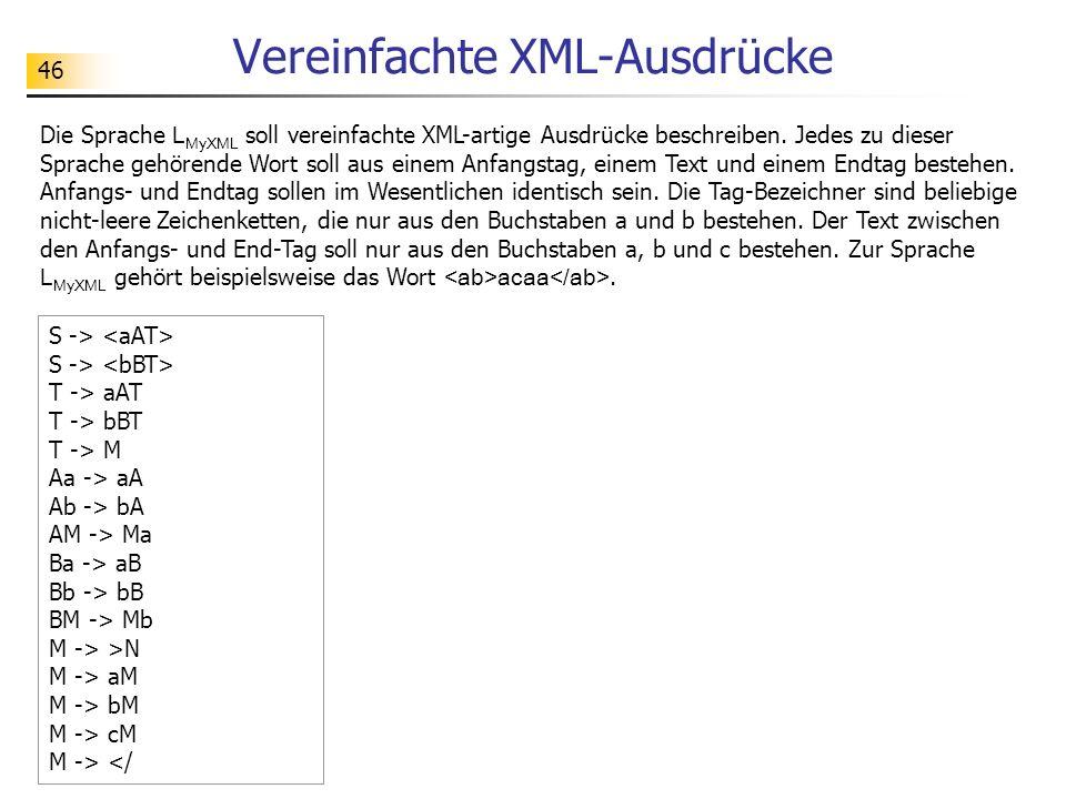 Vereinfachte XML-Ausdrücke