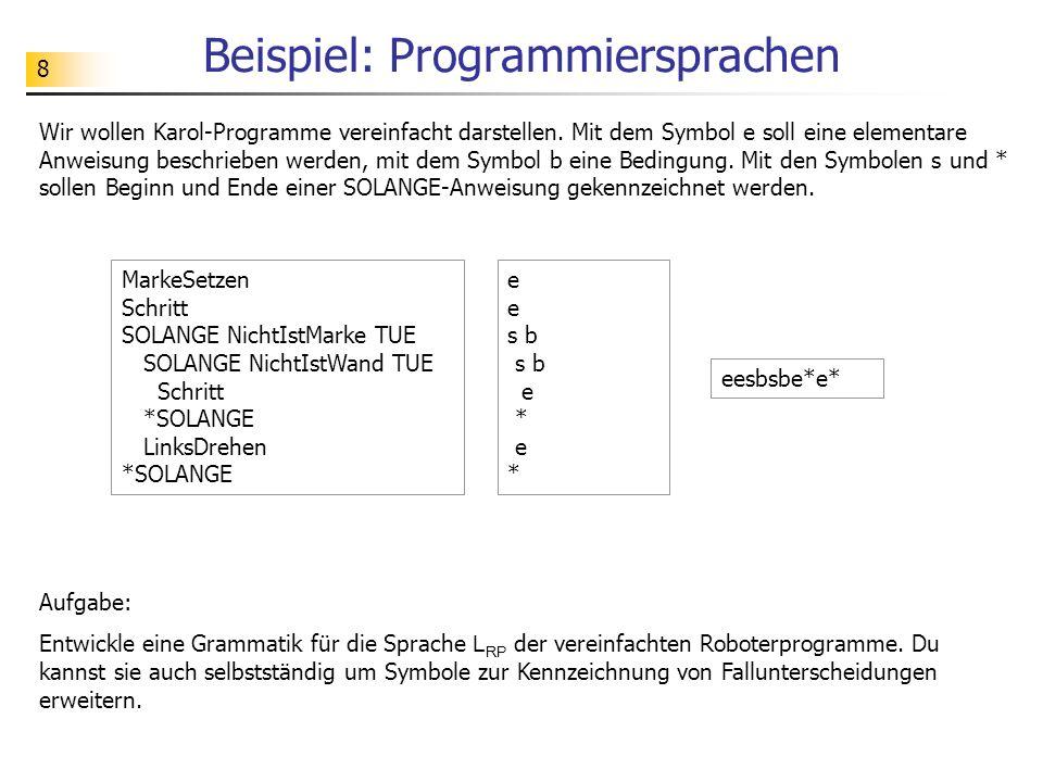 Beispiel: Programmiersprachen