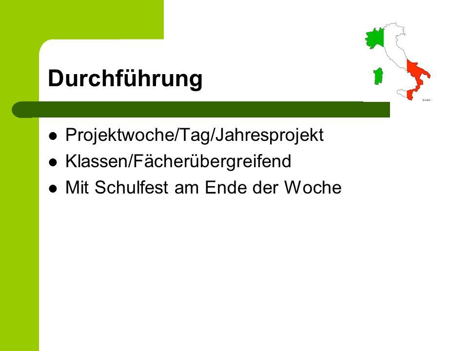 Durchführung Projektwoche/Tag/Jahresprojekt Klassen/Fächerübergreifend