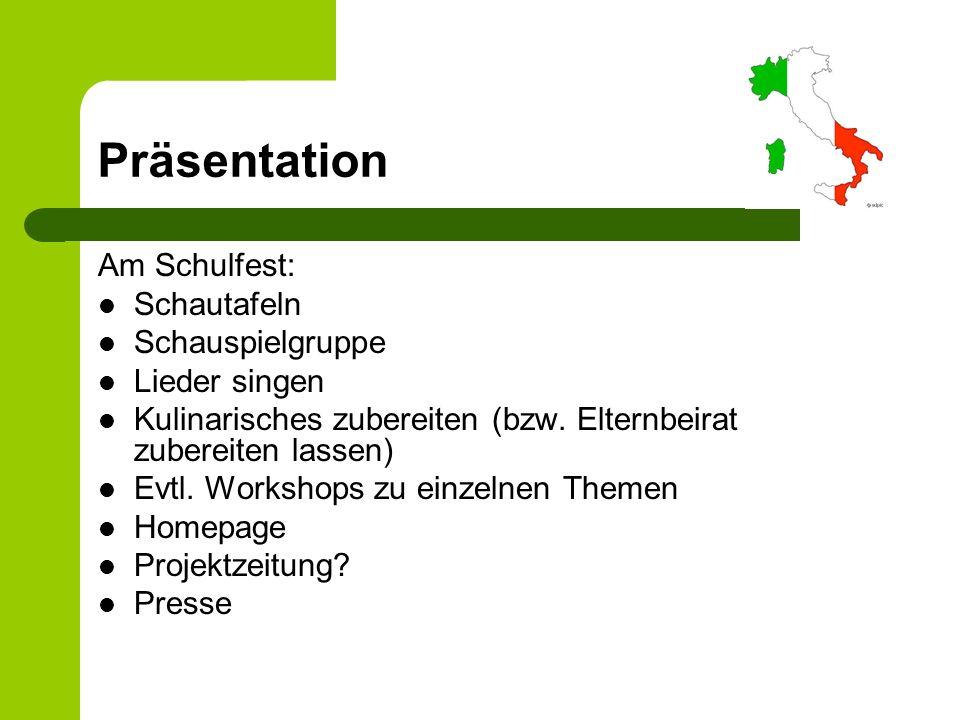 Präsentation Am Schulfest: Schautafeln Schauspielgruppe Lieder singen