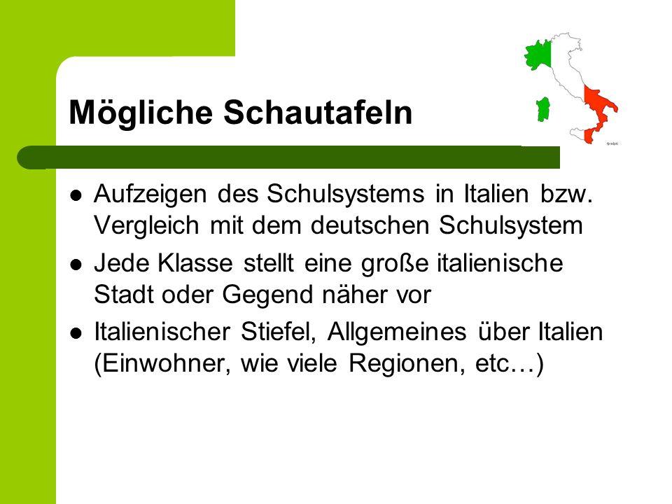 Mögliche Schautafeln Aufzeigen des Schulsystems in Italien bzw. Vergleich mit dem deutschen Schulsystem.