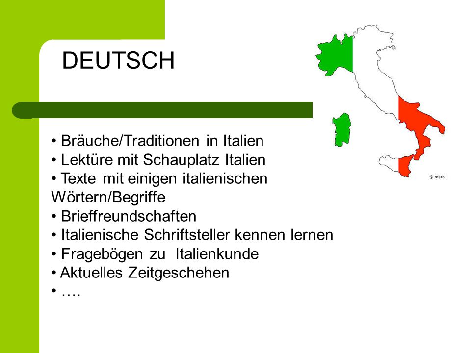 DEUTSCH Bräuche/Traditionen in Italien Lektüre mit Schauplatz Italien