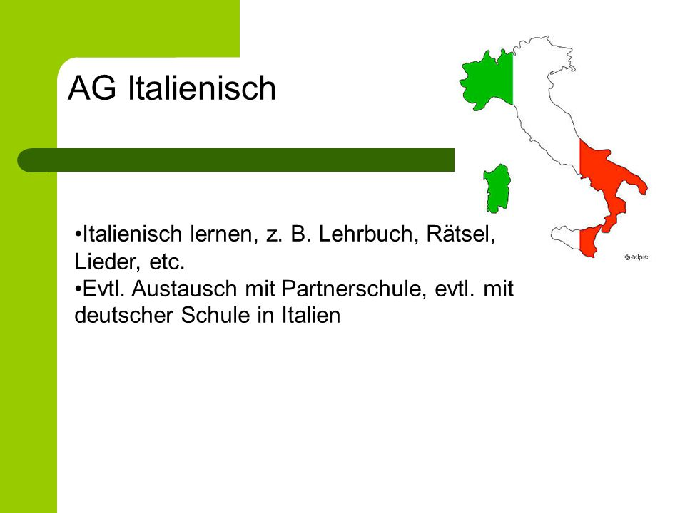 AG Italienisch Italienisch lernen, z. B. Lehrbuch, Rätsel, Lieder, etc.