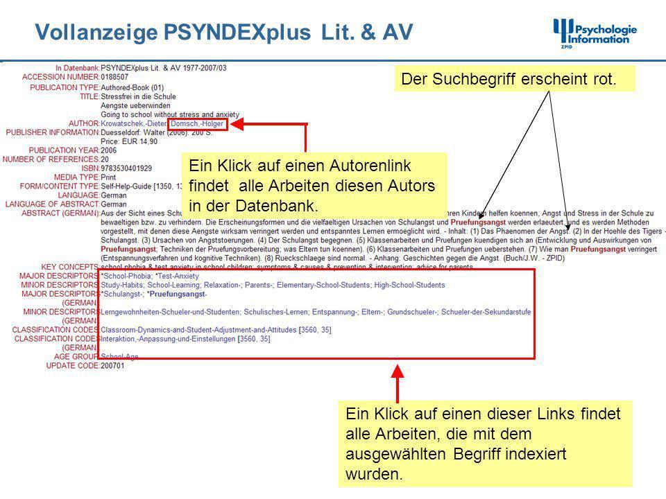 Vollanzeige PSYNDEXplus Lit. & AV