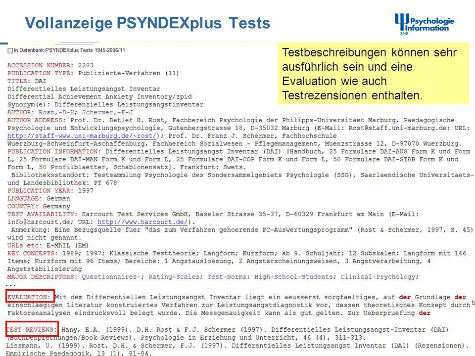 Vollanzeige PSYNDEXplus Tests